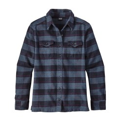 Fjord Flannel L/S Shirt, boxwood plaid navy blue / Damen