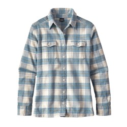Fjord Flannel L/S Shirt, boxwood plaid birch white / Damen