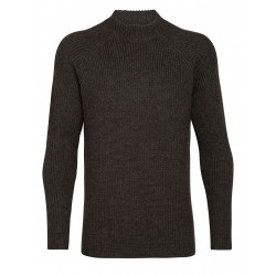 Hillock Funnel Neck Sweater, peat heather