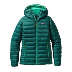 Down Sweater Hoody Wm, arbor green / Damen